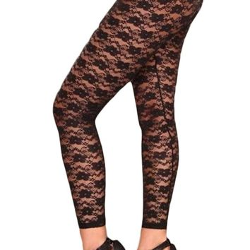 Black Flowery Lace Sheer Footless Tights