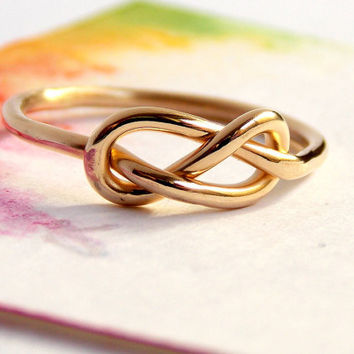 Infinity Knot Ring-- 14K Gold ring, gold filled ring, love ring, love knot, promise ring, infinity friendship ring