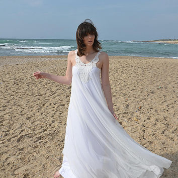 Romantic wedding dress with embroidery pattern, boho wedding lace, Barzelai wedding dress