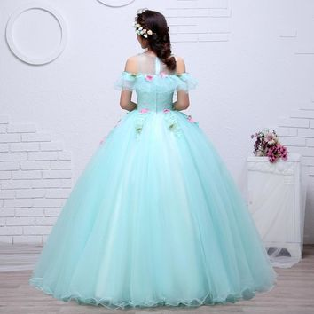 Neck Green with pink flower Princess Bride Gowns