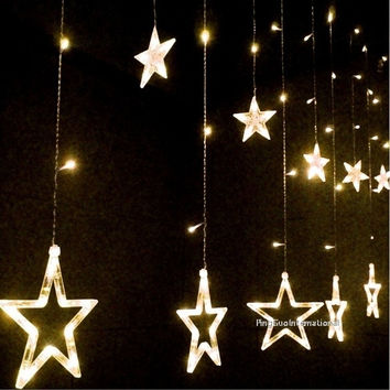 Fashion 12 Star Shape LED Flash Lights Party Wedding Festival Decorations Strobe Curtain Night