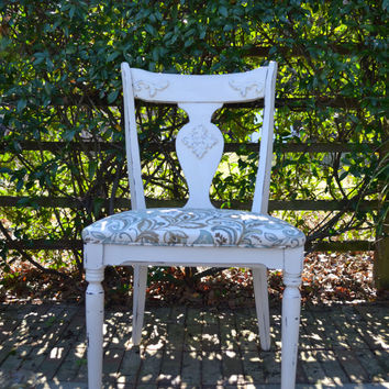 Shabby Vintage Cottage Chair- French Linen- Antique White-Distressed Chair-Appolostered Seat Cushion-Shabby Cottage Decor-Rustic Decor