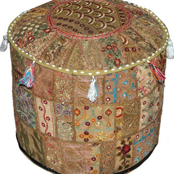 Bohemian Gypsy Ottoman pouf chair Patchwork pouf Vintage Indian pouffe Foot Stool bean bag HANDMADE Ethnic Pouffe Bean Bag floor pillow