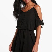Open Shoulder Playsuit | Boohoo