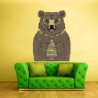 Full Color Wall Decal Mural Sticker Decor Art Beautyfull Cute Fashion Bear Mustache Tie Glasses (col255)