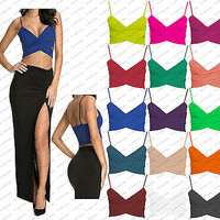 New Womens Cross Over Crop Top Ladies Celeb Bralet V Neck Cut Out Vest Tee 8-14