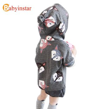 Babyinstar Cute Fox Girls Jacket Autumn Long Sleeve Brand Children Clothing Hooded Casual Outwear Boys Jackets and Coats