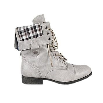 New! Military Combat Boot Fold-over Cuff+multi-color Zipper on the Back (7, tan)