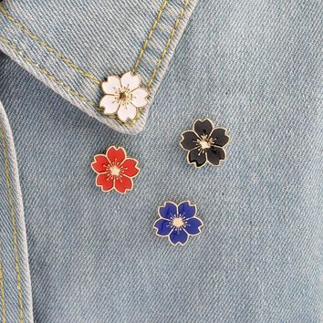 Trendy Cherry Blossoms Flower Gold silver Brooch Pins Button Pins Denim Jacket Pin Badge for Bags Japanese Style Jewelry Gift for Girls AT_94_13