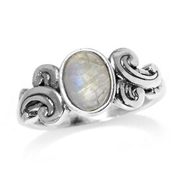 Natural Moonstone 925 Sterling Silver Victorian Style Ring