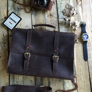 Rustic Distressed Leather Messenger Bag Briefcase Laptop Satchel fits Macbook Pro 15""