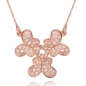 Unity Powers Magical Butterflies Eternity Circle Amulet Gold-Tone Sparkling Crystals Necklace