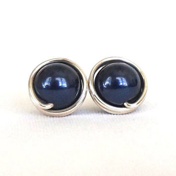 Midnight Blue Swarovski Stud Earrings, Blue Pearl Studs, Sterling Silver Hypoallergenic Post Earrings, Wire Wrapped Jewelry Handmade