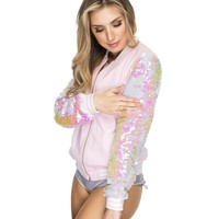 Reverse Sequin Pink and White Rave Varsity Jacket