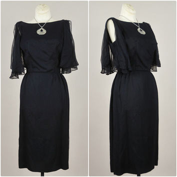 1950s onyx black  ultra sheer chiffon split angel sleeves wiggle cocktail bombshell midi dress