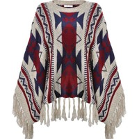 ZLYC Women Geometric Stripe Aztec Cape Sweater Pullover with Fringe Trim Beige