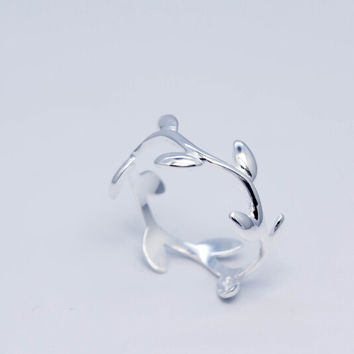 925 sterling silver vines opening ring,cute sweet vines ring,a perfect gift