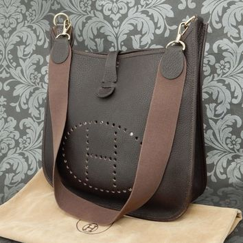Day-First™ Rise-on HERMES Evelyne GM Taurillon Clemence Dark Brown Shoulder bag #136