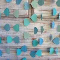 10 Metres Tropical Collection Ocean Aqua Azure Blue Heart Garland Shabby Chic beach wedding decoration, baby shower decoration