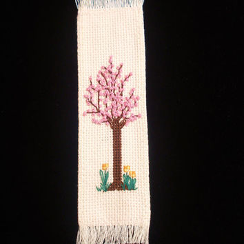 Cross Stitched Bookmark, Spring Tree, Pink Blossoms Bookmark