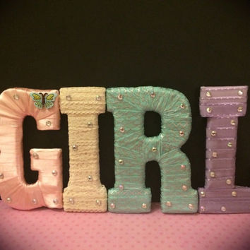 Girls Room and Baby Girl Nursery Letter Set by Tightly Wound Designs
