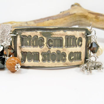 Cowgirl Bracelet, Country Western Jewelry, Rodeo Bracelet, Cowgirl Up, Western Cowgirl Jewelry, Horse Charm Bracelet, Gift for Her