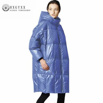 Oversize Cocoon Coat Woman Winter 2017 Long Down Jacket Canada Stand Collar Solid Color Thick Down Coat Feather Parka Oka758