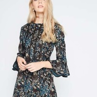 Jacquard Frill Sleeve Dress