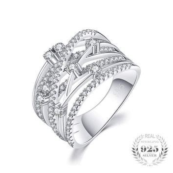 Luxurious Round Wide Cocktail Band Ring 925 Sterling Silver