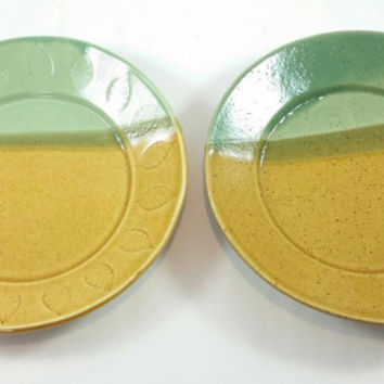 Handmade Pottery Ceramic Plates - set of 2 handmade stoneware plates in ceramic pottery stoneware clay with green and gold glaze.