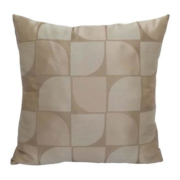 "Satin Geometric Pattern 20""x20"" Champagne/Cream Pillow Case/Cushion Cover"