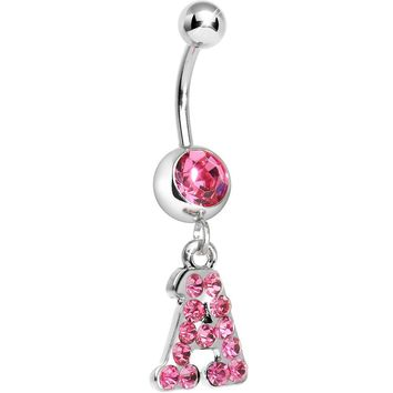 Pink Gem Letter A Initial Dangle Belly Ring