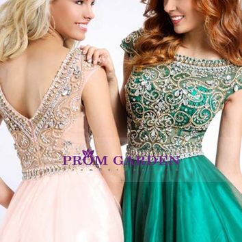 2015 Scoop A-Line Prom Dress Floor-Length Full Beaded Bodice Tulle PGNPY7LM51T - PromGarden.com