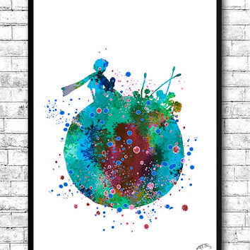 BUY Any 2, GET 1 FREE! The Little Prince, Watercolor print, Le Petit Prince, Stars, French, Poster, Nursery, Home Decor,Baby Shower,Wall art