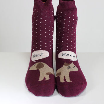 Dog Cat Socks Woof Meow Socks Maroon Socks Polka Dots Sock Women Girls Socks Women Socks Funny Socks Ankle Socks Animal Socks Cute Fun Socks
