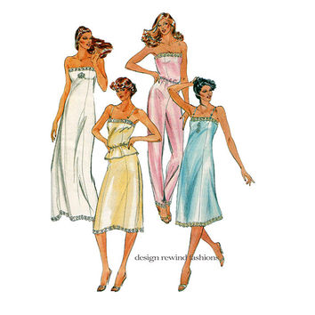 1980s LINGERIE PATTERN BUTTERICK 3434 Full Slip, Half Slip, Strapless Slip Cami Camisole pajama pants Size 12 Womens Sewing Patterns UNCuT
