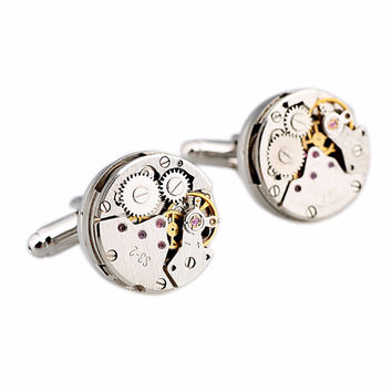 Jewelry Classic Shirt Cufflinks For Men Silver Mechanical Watch Movement Cuff Buttons Business Cufflinks SM6