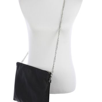 Black Faux Leather Crossbody Clutch Bag Accessory