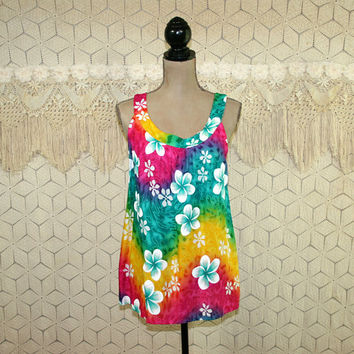 Womens Sleeveless Summer Tops Hawaiian Shirt Rayon Floral Print Surfer Beach Colorful Blouse Medium Large Vintage Clothing Womens Clothing