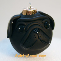 Black Pug Wrinkle Dog Round Tree Ornament Dog Breed Art