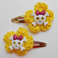 Choice/Girls Hair Clips/Crocheted Flowers/Crocheted Hearts/Cupcakes/Skeletons/Flower Buttons/Yellow Crocheted Flowers and Hearts