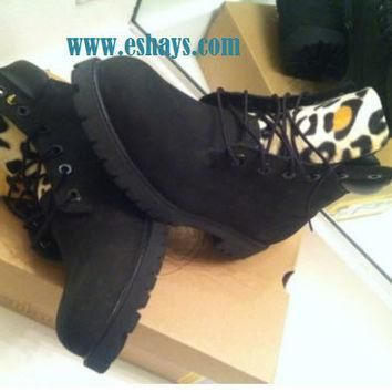 Custom Cheetah Leopard Black Timberland Boots no spikes