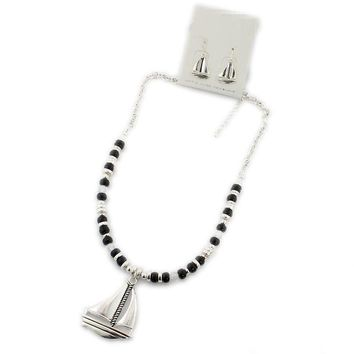 European and American jewelry black beads glass beads necklace silver alloy hollow sailing earrings set special jewelry IT