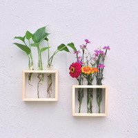 DIY Hanging Flower Vase Bottle in Wood Stand Terrarium Home Party Wedding Decor