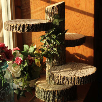Large 3-Tiered Rustic Wedding Decor Tree Mason Jar / Candle Stand Table Center Piece Cupcake Holder