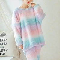 Women Winter Pajama Sets Thick Warm Flannel Sleepwear Long Sleeve O-Neck Nightwear Top+Pants Pajamas Homewear