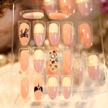 Cute Ribbon Bow Print Pattern False Fingers Nails Lovely Pink White Purple Colorant Match Rhinestones Fake Nails Z185