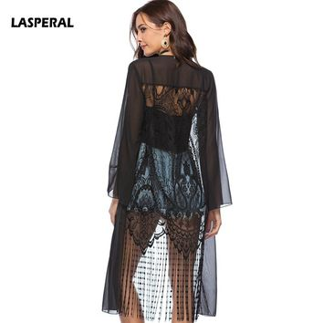 LASPERAL Sunproof Beach Cardigan 2018 Sexy Chiffon Black Bikini Cover Up Lace Up Tassel Swimsuit Cover-up Robe De Plage Femme