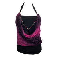 eVogues Apparel- -Plus size Glitter print Necklace accented O-ring Top Pink-Clothing-Women's Plus-Tops