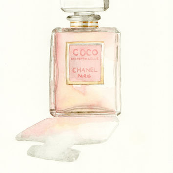 Coco Mademoiselle Chanel - Giclee Print of Watercolor Painting Paris Perfume Bottle - 8 x 10 - on watercolor paper